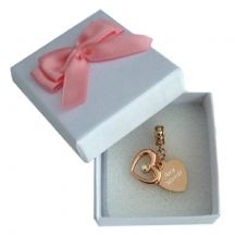 Rose Gold, Engraved, Two Hearts Memorial Charm